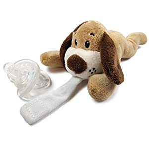 Detachable Pacifier Holder – Plush Animal & Infant Pacifier Soothie – Dog