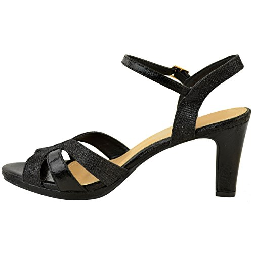 Fashion Thirsty Womens Mid Block Stiletto Heel Strappy Sandals Wedding Glitter Bridal Party Size Black Crinkle Faux Leather shnNcSB