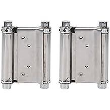 Steel Spring Hinges,2Pcs 3 Inch Heavy Duty Brass Double Action Saloon Cafe Door Swing Door with Screws