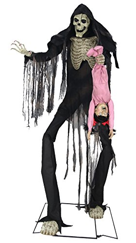 Towering Boogey Man With Kid Animated Halloween Prop -
