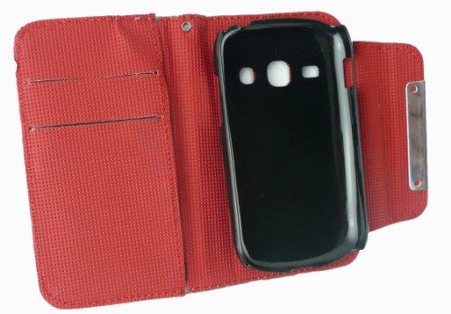 Emartbuy® Sparkling Stylus Pack Para Samsung Galaxy Fame S6810 Faux Suede Leopardo Gris Monedero Caso / Cubierta / Bolsa Con El Interior Rojo Y Ranuras Para Tarjetas De Crédito + Sparkling Mini Negro