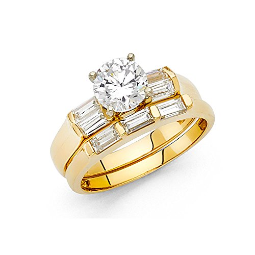 14K Yellow Gold Wedding Set - 4mm Women's Engagement Ring and 2mm Wedding Band with 1 ct Round Center and Baguette Side Stone Size 7.5 (Detailed Baguette)