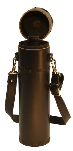 Wine Quiver Black Leather Wine Carrier By Mint Leather ()