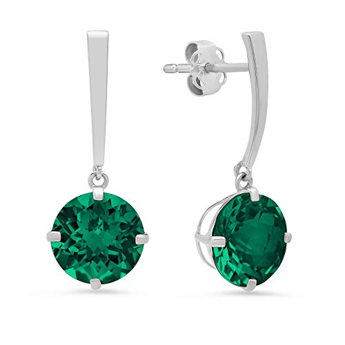 14k White Gold Solitaire Round-Cut Created Emerald Drop Earrings (8mm)