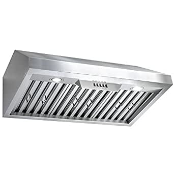 "Perfetto Kitchen and Bath 30"" Under Cabinet Stainless Steel Push Button Control Kitchen Cooking Fan Range Hood"