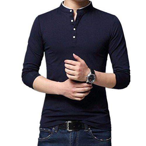 University Classic Pique Polo Shirt - Tsyllyp Mens Long Sleeve Classic Fit Cotton Polo T-Shirt Navy Blue Solid Shirts
