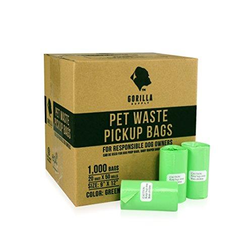 Gorilla Supply 1000 Green Dog Pet Poop Bags, EPI Technology,