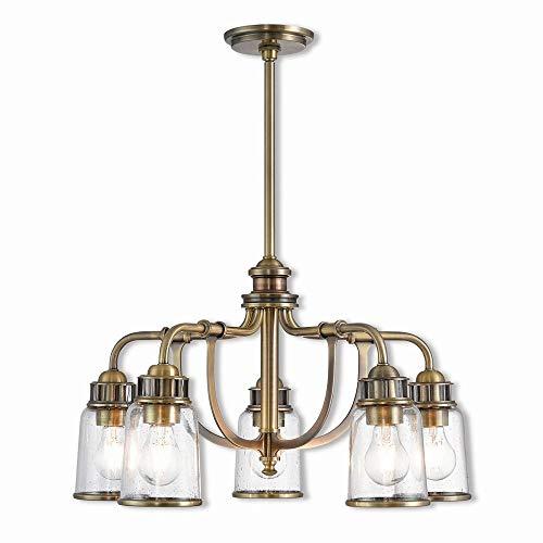 Livex Lighting 40025-01 Lawrenceville 5 Light Dinette Chandelier Antique Brass