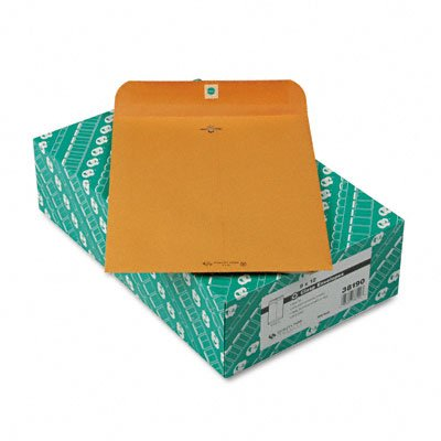 Quality Park Clasp Envelope, Recycled, 9 x 12, 28lb, Light Brown, 100/Box