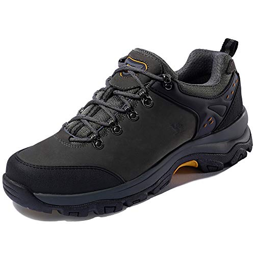 (CAMEL CROWN Hiking Shoes Men Trekking Shoe Low Top Outdoor Walking Waterproof Leather Trail Sneakers(Grey-1,10.5 D(M))