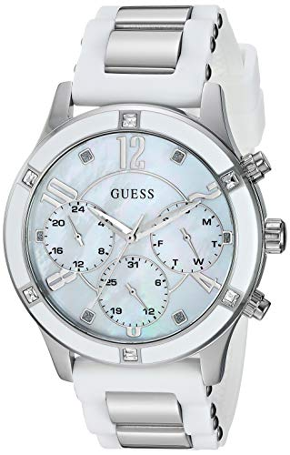 GUESS  Stainless Steel White Stain Resistant Silicone Watch with Mother-of-Pearl Dial, Day, Date + 24 Hour Military/Int'l Time. Color: White (Model: U1234L1)