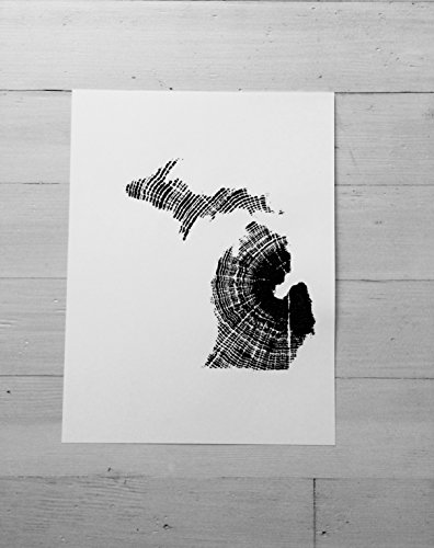 Map of Michigan, Original Woodblock print. - Oaks Michigan Twelve