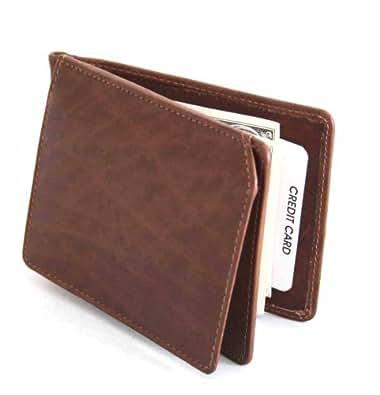 Genuine Leather Men Bifold Money Clip Wallet
