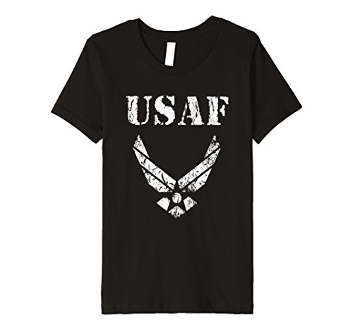 - Kids USAF US Air Force With Distressed Wings T-Shirt 10 Black