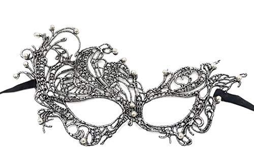 Coolwife Women's Venetian Crochet Ball Lace Masquerade Mask Halloween Fashion (Swan Silver Black with Bead) -