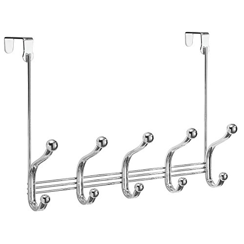 InterDesign York Lyra Over The Door 5 Dual-Hook Storage Rack for Coats, Hats, Robes, Towels – Pack of 4, Chrome by InterDesign