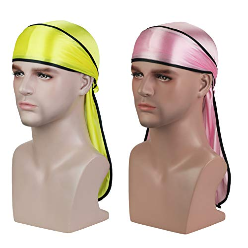 Silky Soft Durag (2PCS/3PCS) with Extra Long Tail and Wide Straps Headwrap Du-Rag for 360 Waves