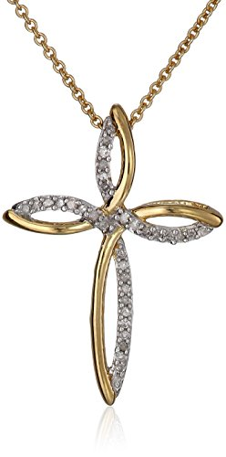 18K Gold over Sterling Silver Diamond Cross Pendant Necklace (1/10 cttw), 18
