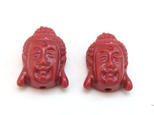 4 BEADS - Red resin light weight small size Buddha face pendant beads - BD700s BeadsofNepal 4336806959