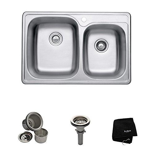 kraus ktm32 33 inch topmount 6040 double bowl 18 gauge stainless steel kitchen sink - Stainless Steel Kitchen Sink Gauge