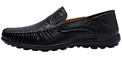 Jions Mens Finskor Driver Mockasiner Läder Loafers Slip-on Tillfälliga Båt Skor B - Svart