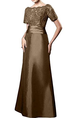 Ballkleider Abendkleider Braun mit Lang Brautmutterkleider Spitze Damen Formalkleider Dunkel Kurzarm Gruen Charmant n1qwX6YZx