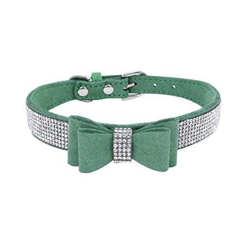 Dog Collar, Exquisite Adjustable Bowknot Diamond Dog Puppy Pet Collars (Green, M)