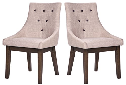 Merax Stylish Fabric Dining Chairs with Solid Wood Legs and Decorative Buttons, Beige, Set of 2 -  - kitchen-dining-room-furniture, kitchen-dining-room, kitchen-dining-room-chairs - 411TnIBBdGL -