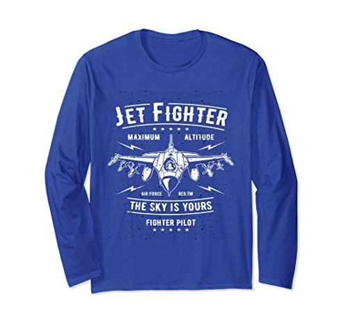 Fighter Pilot Watch - Unisex Jet Fighter Pilot Locked and Loaded Long Sleeve T-shirt XL: Royal Blue