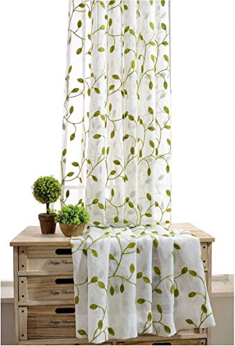 TIYANA Ivy Leaf Embroidered Sheer Panels Window Crushed Sheer Gauze Curtain Panels Rom Curtain Door Screen Curtain Voile Tulle Drapery Rod Pocket, 1 Panel, Green Leafs White Sheer, W40 x L84 inch