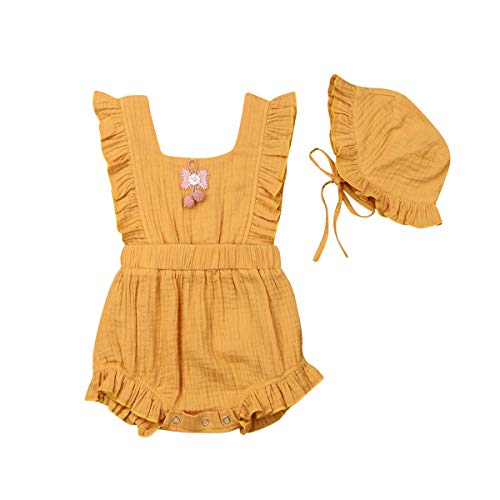 Neborn Girls Summer Linen Sunsuit Baby Bloomer Romper Toddler Infant Vintage Bubbles One Piece +Hat (0-6m, Yellow)