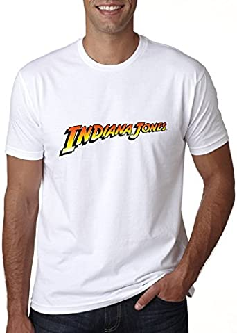 indiana jones logo blanco camiseta top t-shirt shirt De los hombres LG t-shirt: Amazon.es: Ropa y accesorios