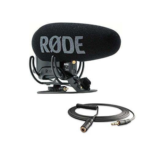 Rode Videomic Pro-R+ On-Camera Shotgun Condenser Microphone and Rode VC1 10' (3.5mm) Stereo Mini Jack Extension Cable, Suits VideoMic