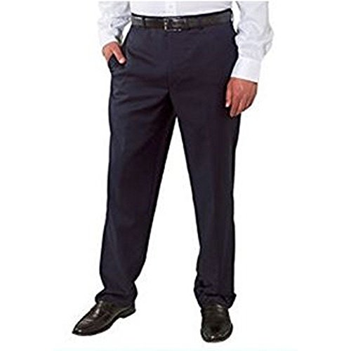 Kirkland Signature Mens Wool Gabardine Flat Front Dress Slack Pant, Navy Mini Plaid, Size 34x30