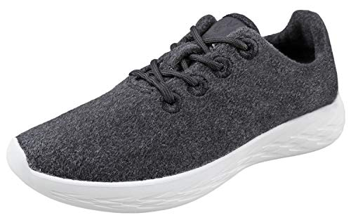 Urban Fox Mens Parker Wool Sneakers | Wool Shoes | Runners Running Shoes | Walking Shoe for Men | Charcoal/White 9