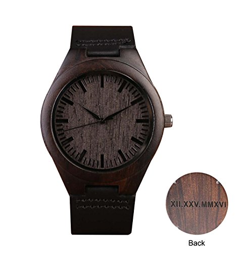 Engraved Black Leather (Custom Engraved Wooden Watch With Black Leather Band Groomsmen Gifts Anniversary Gifts for Men Personalized Gifts)