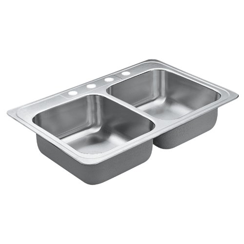 Moen 22821 Excalibur 4 Hole Stainless Steel 22 Gauge Double Bowl Drop In Sink, Stainless - smallkitchenideas.us