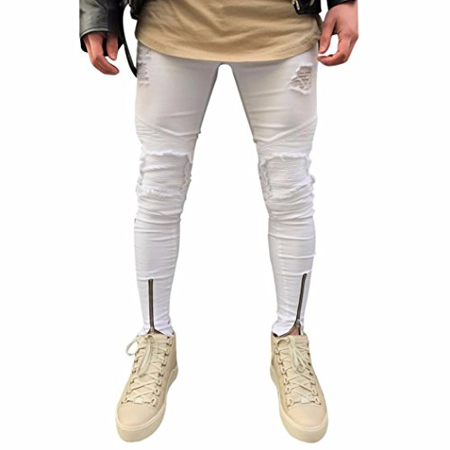 Men Jeans Daoroka Men's Ripped Slim Fit Straight Denim Motorcycle with Broken Holes Younger-Looking Pants (28, White 1) (Best Looking Ripped Jeans)