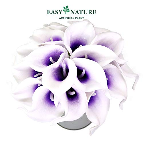 Easy Nature Artificial Calla Lily Real Touch Latex Wedding Bouquet (Pack of 10,14''L,Purple in White)