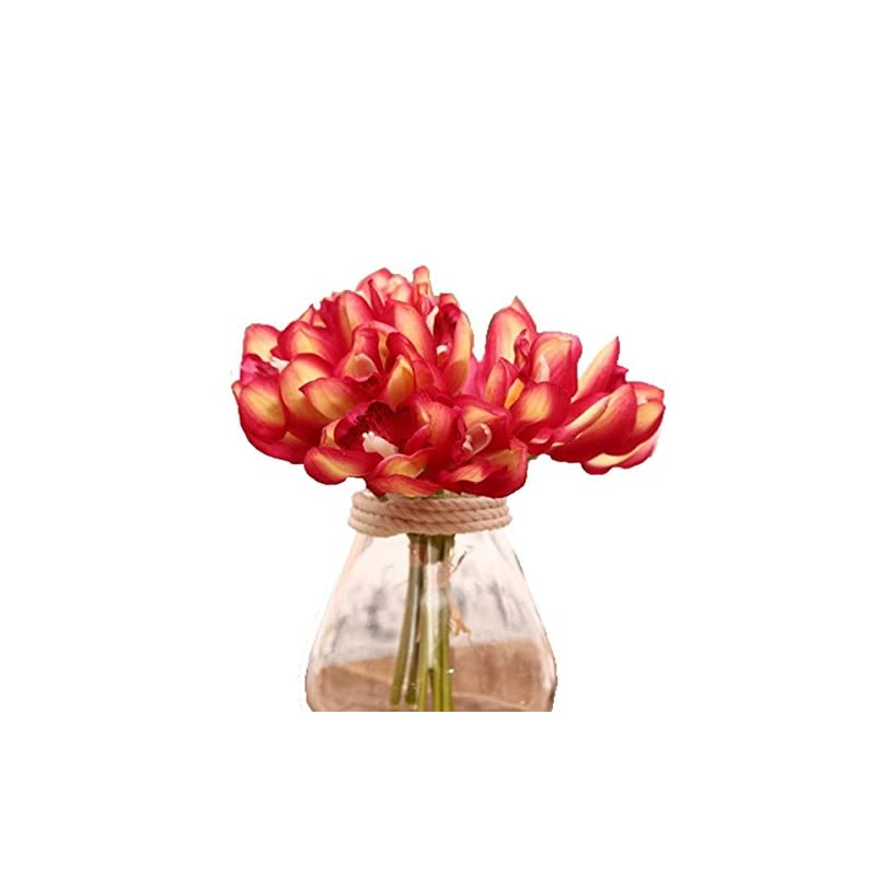 silk flower arrangements 12 pcs high quaulity latex real touch cymbidium orchid artificial flower bouquet for wedding holiday bridal bouquet home party decor bridesmaid (red)