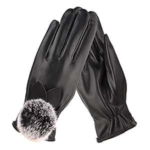 Amazon.com : Gloves Winter Hair Ball Ladies PU Points