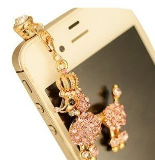 CJB Dust Plug / Earphone Jack Accessory Crystal Rhinestones Poodle Dog with Crown for iPhone 4 4s S4 5 iPad All Device with 3.5mm Jack [Pink] (US Seller)