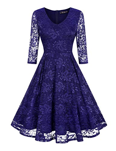 (Navy Blue Elegant Winter Lace Dresses for Women(L, Navy Blue))