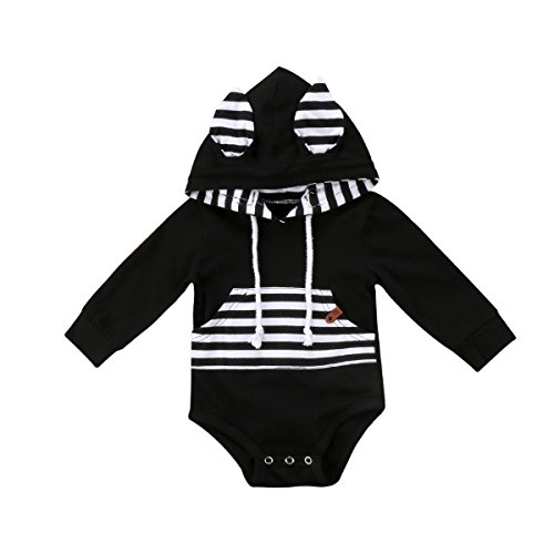 FOCUSNORM Newborn Baby Boys Clothes with Pockets Hooded Long Sleeves Romper Bodysuit Top Straps Outfits for 0-24 M (Tag 80/6-12 Months, Black Romper)