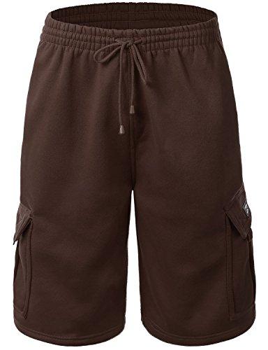 Men's Cargo Sweat Shorts Elastic Drawstring Casual Loose Fit Fleece (X-Large, -