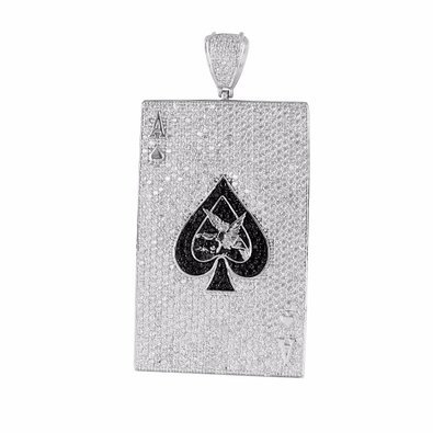 Ace of spades pendant white gold finish black white lab diamond card ace of spades pendant white gold finish black white lab diamond card pendant aloadofball Image collections