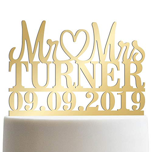 Mr Heart Mrs Customized Wedding Cake Topper Wedding Date Last Name To Be Personalized Wedding Cake Topper | Mirrored Cake Toppers