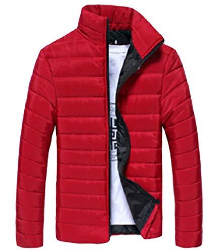 manicotto Di Idoneità Caldo Lungo Coreana Piumino Zip Colore men Colletto Puro Rosso Alla Howme f4q1SPw