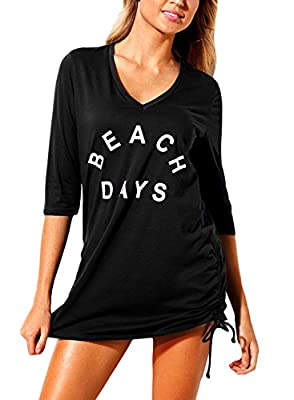 FIYOTE Women Ruched Tie Side V Neck Swimsuit Beach Cover Up