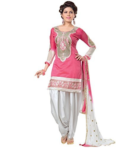 Zombom Chanderi Cotton Embroidered Un stitched Salwar Suit Dupatta Material Dress Material
